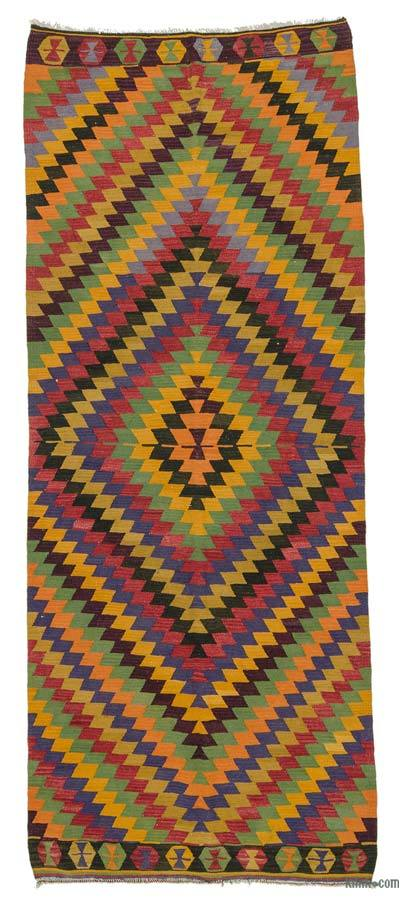 "Vintage Turkish Kilim Runner - 4' 8"" x 11' 8"" (56 in. x 140 in.)"