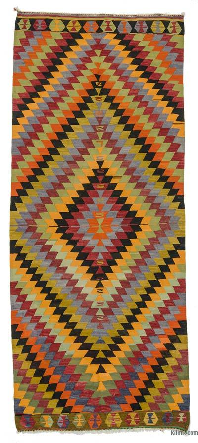 "Vintage Turkish Kilim Runner - 4'9"" x 11'8"" (57 in. x 140 in.)"
