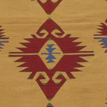 """Yellow, Red New Turkish Kilim Rug - 3' 3"""" x 9' 7"""" (39 in. x 115 in.) - K0021053"""