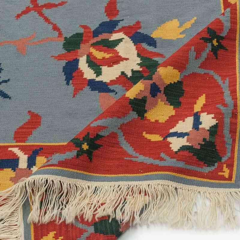 Açık Mavi, Kırmızı Yeni Kök Boya El Dokuma Kilim - 202 cm x 400 cm - K0021073