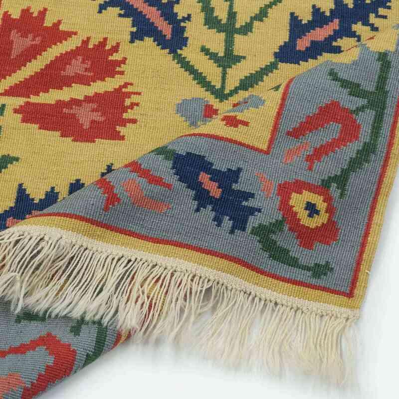 Amarillo, Azul claro Nueva Alfombra Turca Kilim - 82 cm x 327 cm - K0021079