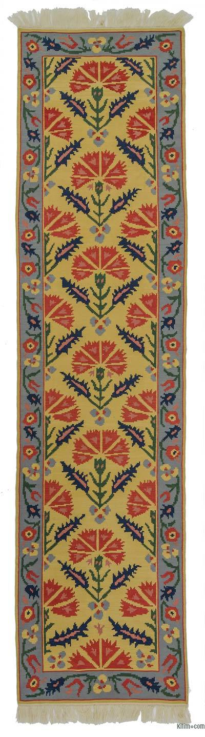 "Yellow, Blue New Turkish Kilim Rug - 2' 8"" x 10' 9"" (32 in. x 129 in.)"