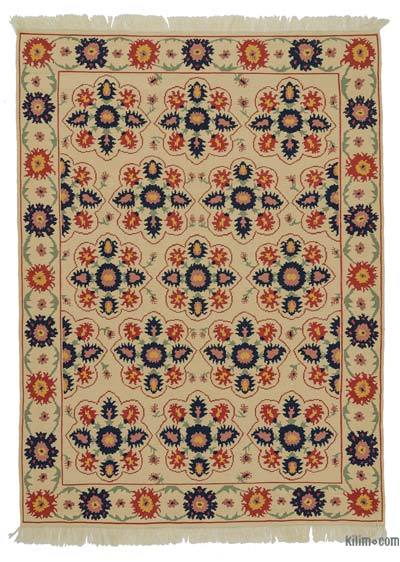 "Beige New Turkish Kilim Rug - 6' 4"" x 8' 8"" (76 in. x 104 in.)"