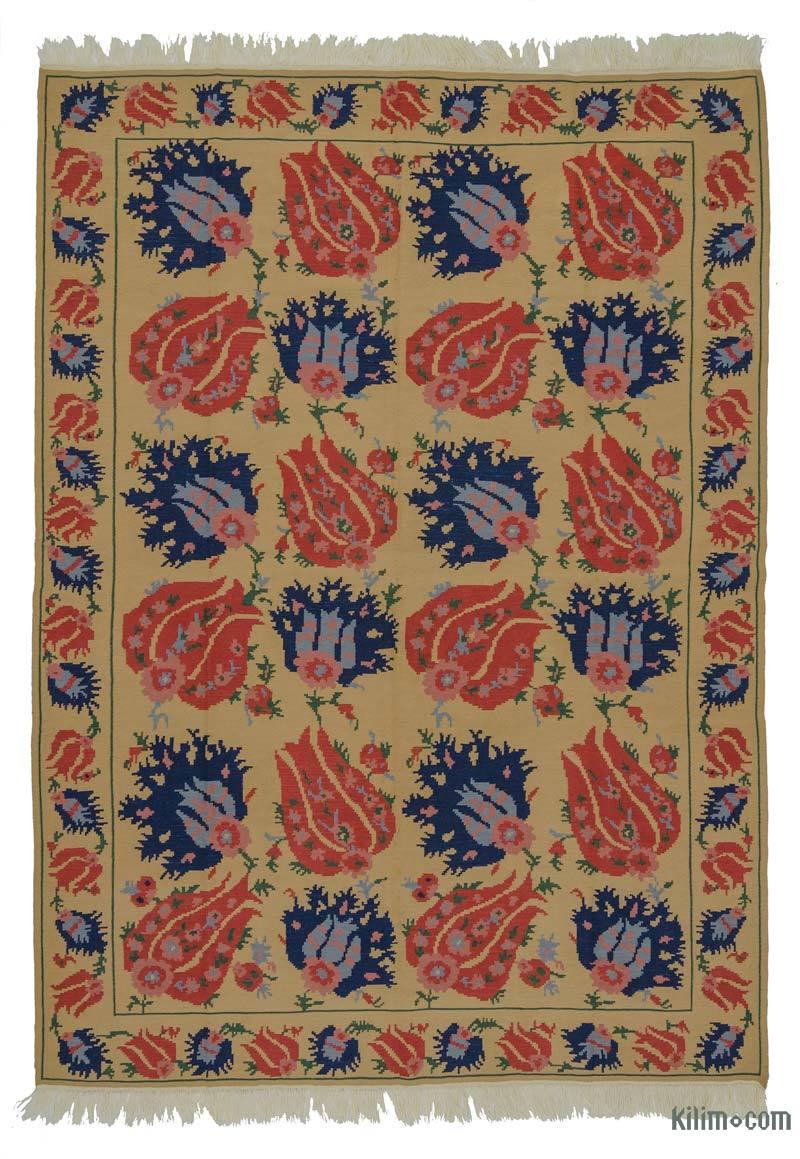 Sarı, Kırmızı Yeni Kök Boya El Dokuma Kilim - 198 cm x 274 cm - K0021090