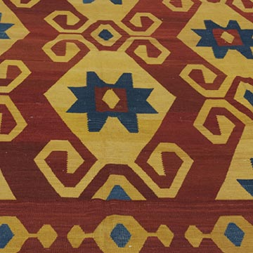 """Red, Yellow New Turkish Kilim Rug - 7' 5"""" x 8' 5"""" (89 in. x 101 in.) - K0021091"""