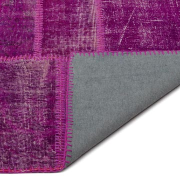 """Fuchsia Patchwork Hand-Knotted Turkish Rug - 9' 1"""" x 12'  (109 in. x 144 in.) - K0021610"""