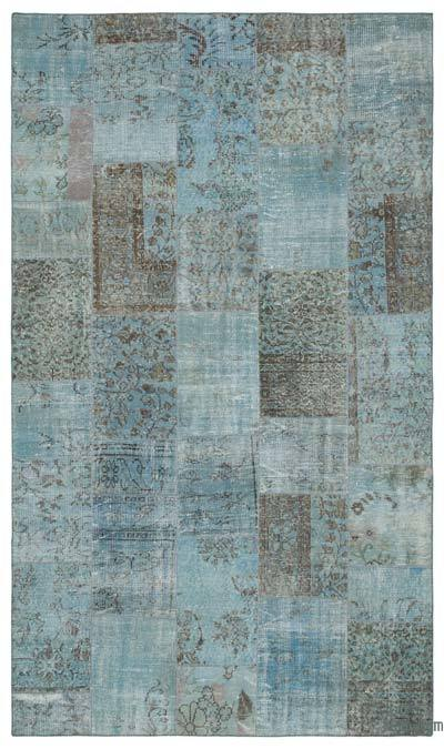 "Over-dyed Turkish Patchwork Rug - 5'6"" x 9'3"" (66 in. x 111 in.)"