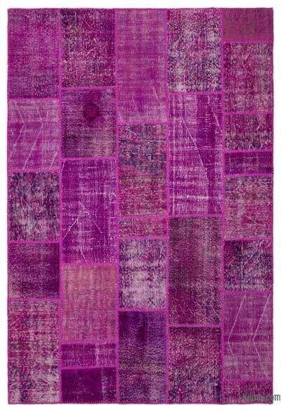 """Over-dyed Turkish Patchwork Rug - 6' 3"""" x 9' 4"""" (75 in. x 112 in.)"""