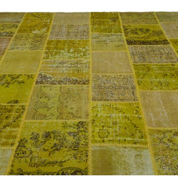 Green Patchwork Hand-Knotted Turkish Rug - 9'  x 12'  (108 in. x 144 in.) - K0021676