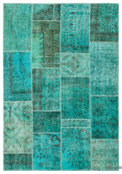 "Over-dyed Turkish Patchwork Rug - 5' 4"" x 7' 7"" (64 in. x 91 in.)"