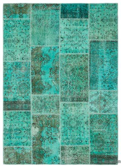 "Over-dyed Turkish Patchwork Rug - 5'4"" x 7'4"" (64 in. x 88 in.)"