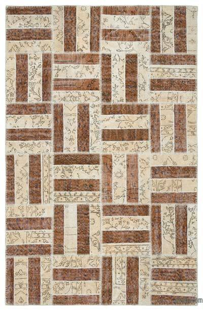 "Over-dyed Turkish Patchwork Rug - 5'3"" x 8'2"" (63 in. x 98 in.)"
