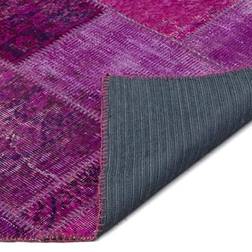 """Fuchsia Patchwork Hand-Knotted Turkish Rug - 4' 1"""" x 5' 10"""" (49 in. x 70 in.) - K0021765"""