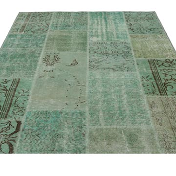 """Green Patchwork Hand-Knotted Turkish Rug - 5' 3"""" x 7' 7"""" (63 in. x 91 in.) - K0021778"""