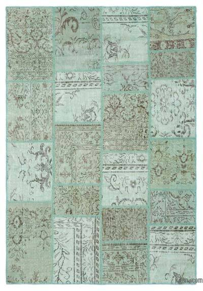 """Over-dyed Turkish Patchwork Rug - 5'3"""" x 7'10"""" (63 in. x 94 in.)"""