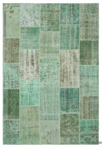 """Over-dyed Turkish Patchwork Rug - 6' 4"""" x 9' 3"""" (76 in. x 111 in.)"""