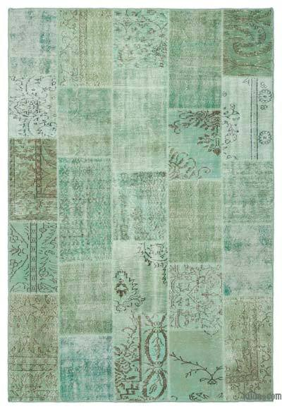 "Over-dyed Turkish Patchwork Rug - 6'4"" x 9'4"" (76 in. x 112 in.)"