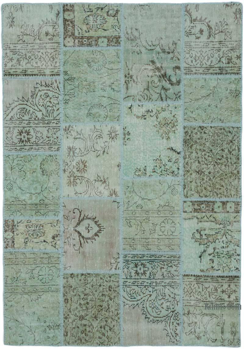 Yeşil Boyalı Patchwork Halı - 160 cm x 232 cm - K0021934