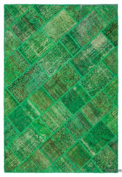 "Patchwork Hand-Knotted Turkish Rug - 5' 3"" x 7' 7"" (63 in. x 91 in.)"
