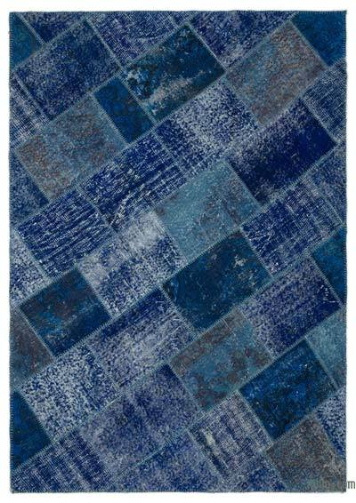 "Over-dyed Turkish Patchwork Rug - 5'3"" x 7'6"" (63 in. x 90 in.)"