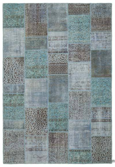 "Over-dyed Turkish Patchwork Rug - 6'3"" x 9'3"" (75 in. x 111 in.)"
