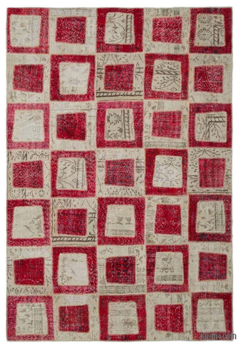 """Red, Beige Patchwork Hand-Knotted Turkish Rug - 6' 3"""" x 9' 2"""" (75 in. x 110 in.) - K0022027"""