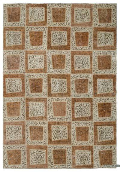 "Over-dyed Turkish Patchwork Rug - 6'4"" x 9'2"" (76 in. x 110 in.)"