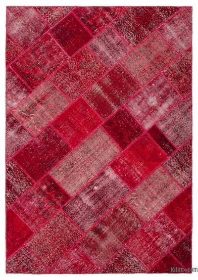 "Over-dyed Turkish Patchwork Rug - 5' 3"" x 7' 8"" (63 in. x 92 in.)"