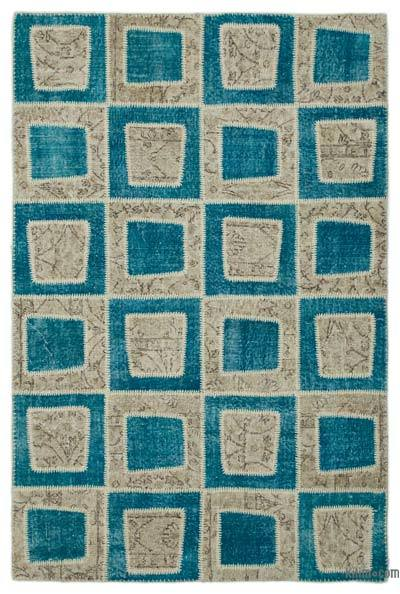"Over-dyed Turkish Patchwork Rug - 5'3"" x 7'11"" (63 in. x 95 in.)"