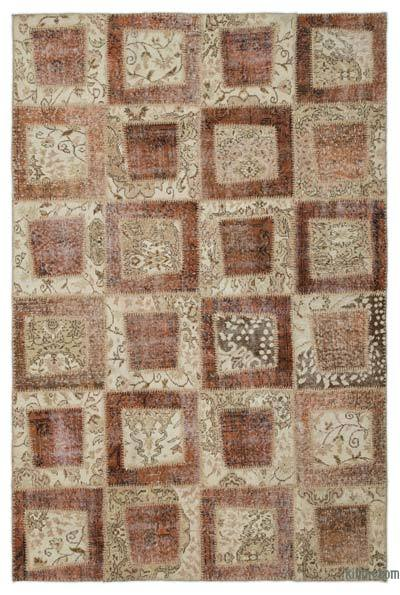 """Over-dyed Turkish Patchwork Rug - 5'3"""" x 7'11"""" (63 in. x 95 in.)"""