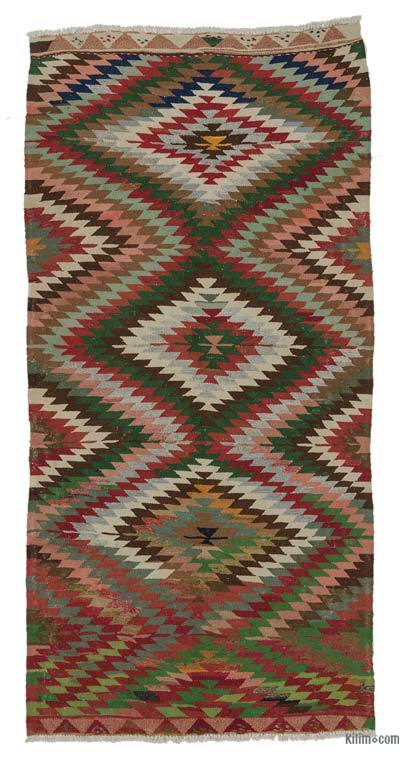 "Vintage Turkish Kilim Rug - 4' 8"" x 9' 5"" (56 in. x 113 in.)"