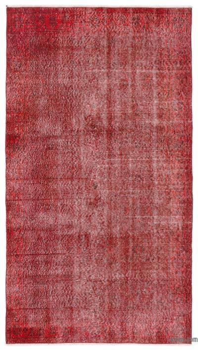 Boyalı El Dokuma Vintage Halı - 112 cm x 204 cm