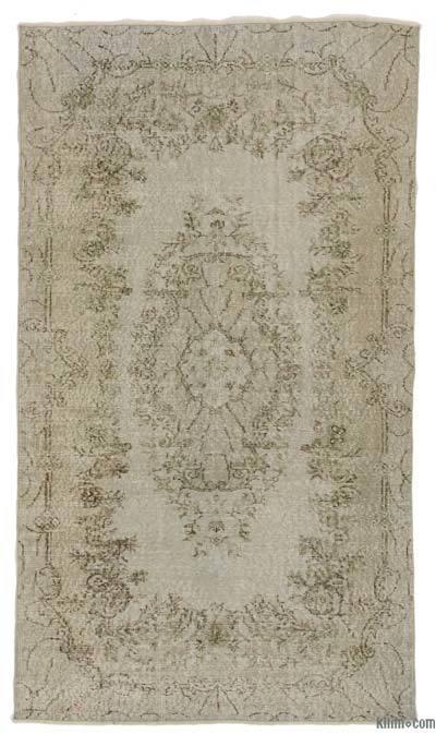 Boyalı El Dokuma Vintage Halı - 122 cm x 215 cm