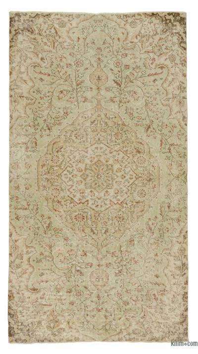 Boyalı El Dokuma Vintage Halı - 114 cm x 212 cm