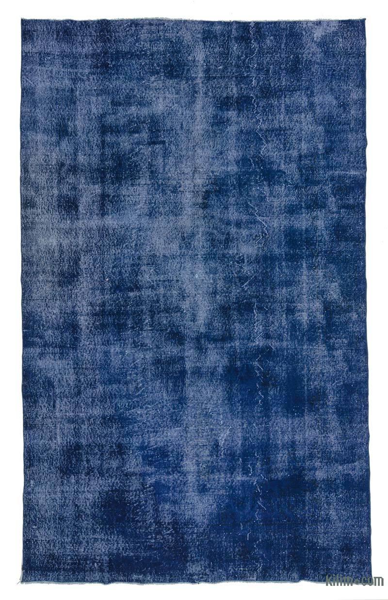 Azul Alfombra Turca Vintage Sobre-teñida - 204 cm x 340 cm - K0024309