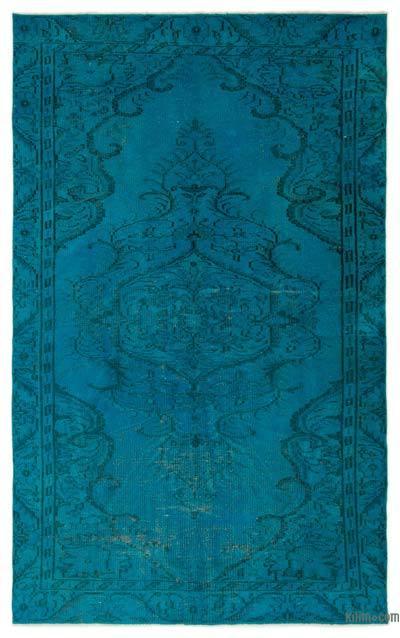 Boyalı El Dokuma Vintage Halı - 154 cm x 250 cm