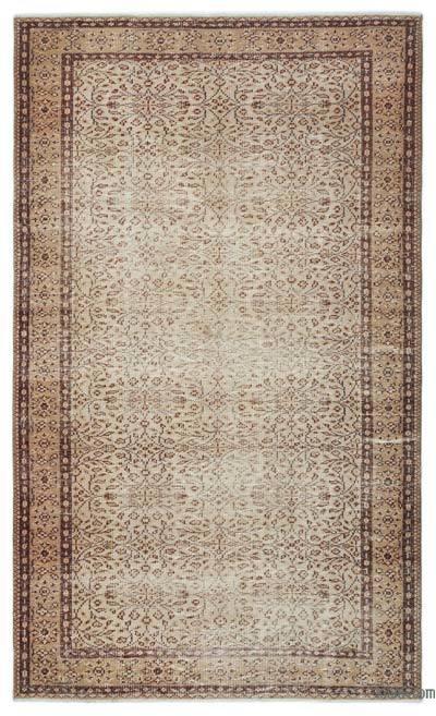 Boyalı El Dokuma Vintage Halı - 158 cm x 266 cm
