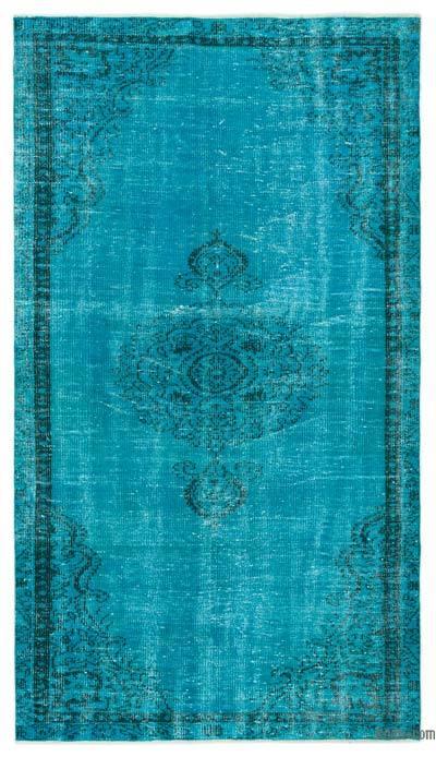 Boyalı El Dokuma Vintage Halı - 147 cm x 260 cm