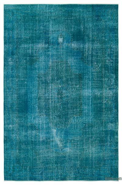 Boyalı El Dokuma Vintage Halı - 202 cm x 304 cm