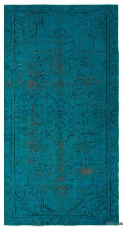 Boyalı El Dokuma Vintage Halı - 151 cm x 286 cm