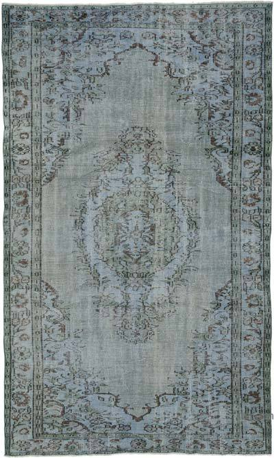 "Blue Over-dyed Turkish Vintage Rug - 5' 4"" x 8' 11"" (64 in. x 107 in.)"