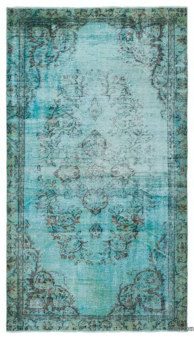 """Over-dyed Turkish Vintage Rug - 4'11"""" x 8'5"""" (59 in. x 101 in.)"""