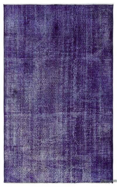 """Over-dyed Turkish Vintage Rug - 4'10"""" x 8' (58 in. x 96 in.)"""