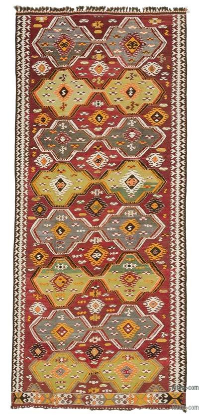 "Red Vintage Mut Kilim Rug - 4' 9"" x 11' 1"" (57 in. x 133 in.)"