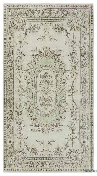 Boyalı El Dokuma Vintage Halı - 118 cm x 218 cm