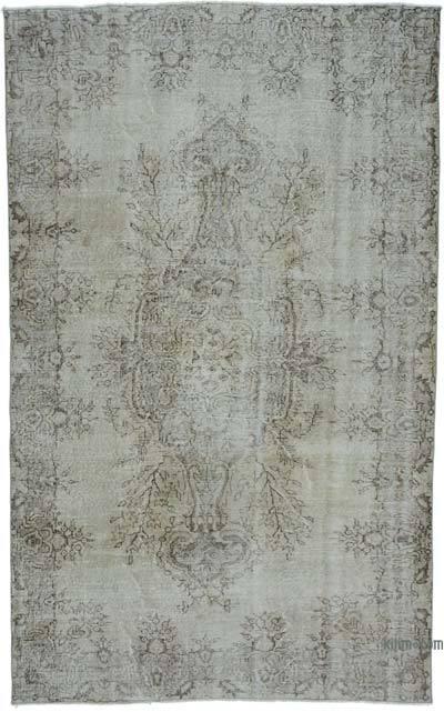 Gri Boyalı El Dokuma Vintage Halı - 180 cm x 293 cm