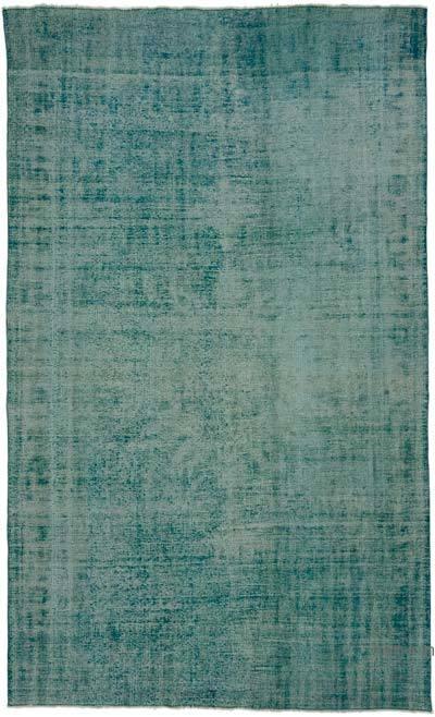 "Aqua Over-dyed Turkish Vintage Rug - 6' 3"" x 10' 6"" (75 in. x 126 in.)"