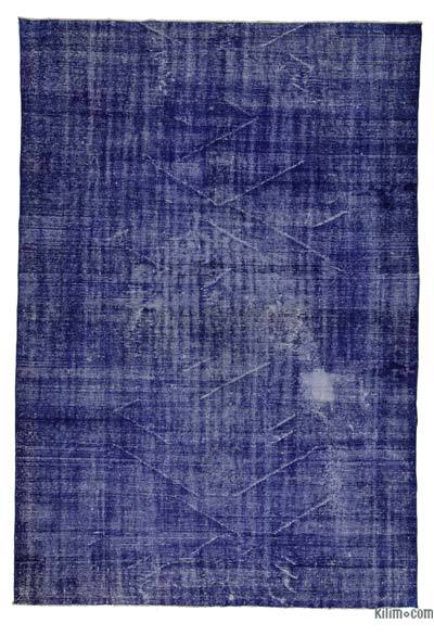 """Blue Over-dyed Turkish Vintage Rug - 6' 7"""" x 9' 9"""" (79 in. x 117 in.)"""