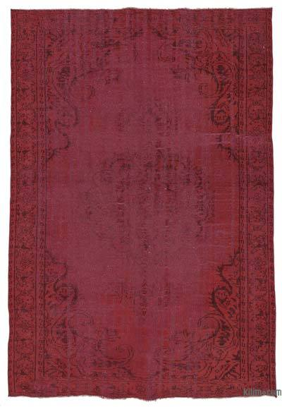 """Red Over-dyed Turkish Vintage Rug - 5' 10"""" x 8' 8"""" (70 in. x 104 in.)"""