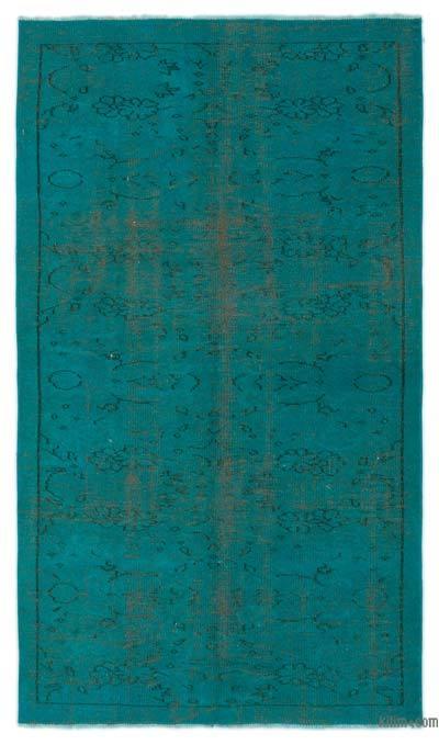 Boyalı El Dokuma Vintage Halı - 122 cm x 210 cm